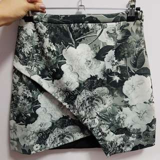 Dark green floral a-line skirt