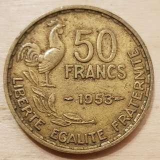 1953 France 50 Franc Coin