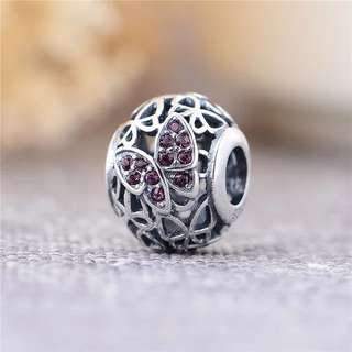 Code MS61 - Hollow Butterfly Openwork Bead 100% 925 Sterling Silver Charm, Chain Is Not Included, Compatible With Pandora