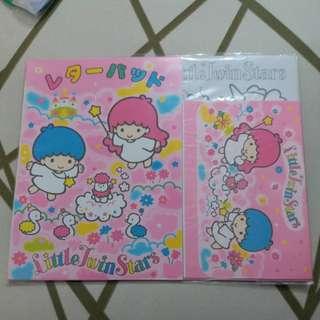 LITTLE Twin Stars 日本絕版1995年信封信紙填色卡套裝