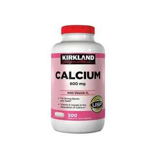 美國Kirkland Calcium 鈣片600毫克+D3, 500粒藥片