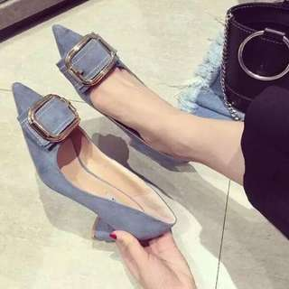 2018 suede bow buckle metal buckle high heel hundred shoes