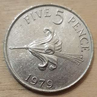1979 Guernsey, Great Britain 5 Pence Coin