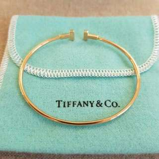 Authentic Tiffany & Co 18k rose gold T Wire bracelet Small