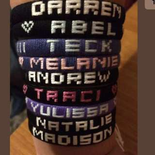 Costume made friendship bracelets with name