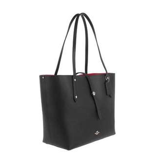Original COACH Polished Pebbled Leather Tote Black/True Red