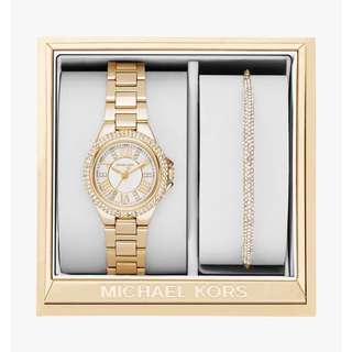 Original Michael Kors Gold-Tone Watch and Slider Bracelet Set