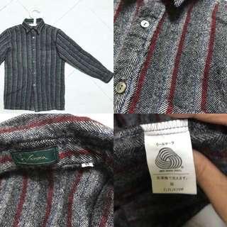 (減價)日牌古著💼 灰色紅藍間紋羊毛外套