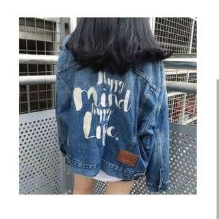 Jaket  jeans oversize happy mind