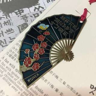 Hand Painted Korea Fan Bookmark