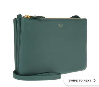 99% new Celine Trio Bag Smoked Green 袋
