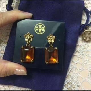 100% Real & New Tory Burch Earring with dust bag   全新花花logo琥珀色耳環連塵袋