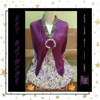 ( NEW PRODUCT ) Set Batwing Batik Plisket - Purple