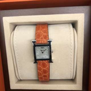 Hermes H hour PM index dia orange croco strap