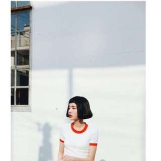 ULZZANG RED AND WHITE CROP TOP
