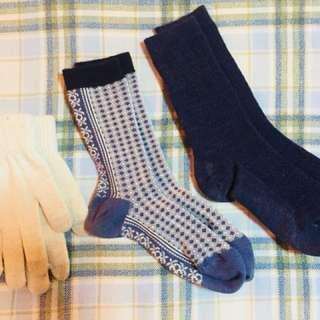 Uniqlo Heat Tech Socks and Terranova Gloves