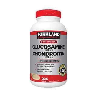 美國Kirkland Glusosamine葡萄糖胺1500毫克+軟骨素1200亳克, 220粒藥片