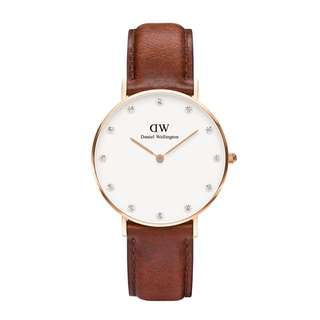 Daniel Wellington 34mm diamond face st Maves brown