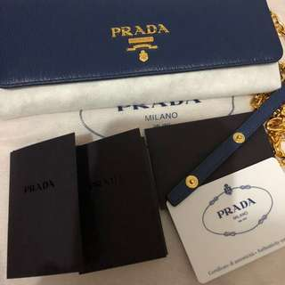 PRADA Bluette Vitello Move Leather Wallet on Chain Clutch Bag