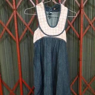 Preloved Mini Dress Hijau Tua Model Halter Neck Fit to L Mat Katun Tebel