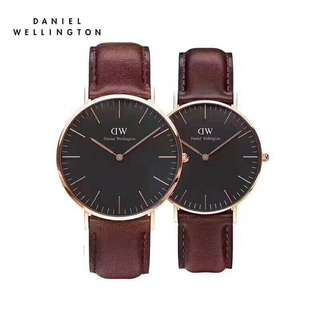 Daniel Wellington Couple watch 40mm&36mm black face st Maves brown strap