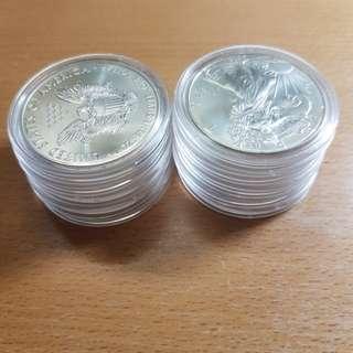 10x 2015 1oz American Silver Eagle