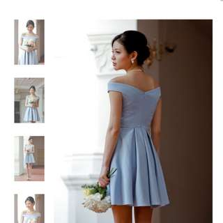 Bridesmaid off-shoulder dress (baby blue)