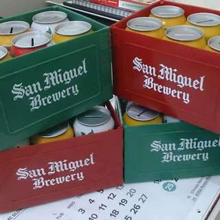San miguel crates with 6 pack coin bank