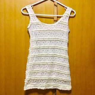 女裝黃白色蕾絲背心 lace tank top