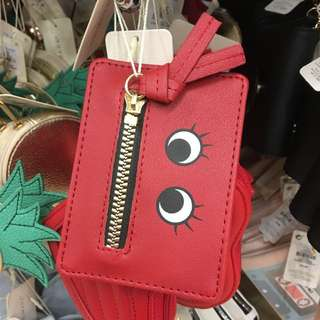 Primark smiley zip red card holder