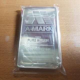 10oz A-Mark 9999 pure silver bar