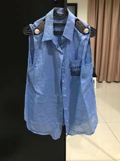No Brand Stylish Blue Sleeveless Top (Size M)