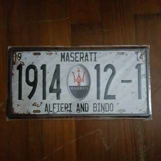 Vintage Looking Mesarti Number Plate