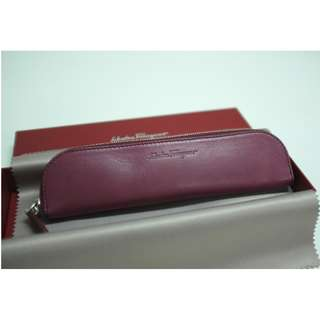 【Salvatore Ferragamo】Leather Case 酒紅色 小物袋 pen bag