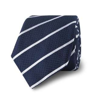 BN TM Lewin Navy Stripe Slim Silk Tie