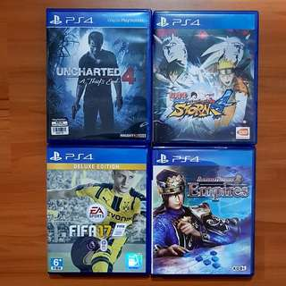 PS 4 Games : Dynasti Warrior 8 Empires, Fifa 2017 Deluxe Edition, Naruto Storm Ninja 4, Uncharted 4