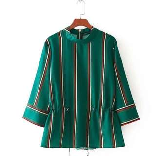 🔥Europe New Loose Green seven Point sleeve shirt blouse
