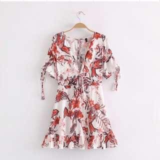 🔥Europe V Collar Waist Floral Dress Girl