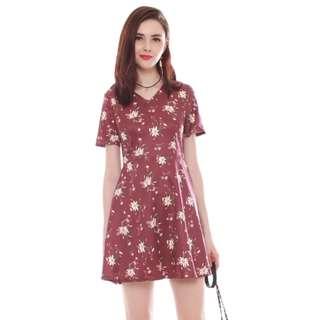 ANTICLOCKWISE French Marigold Swing Dress In WINE