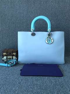 Dior 迪奧 三拼色VIP牛皮大號子母單肩斜挎包袋