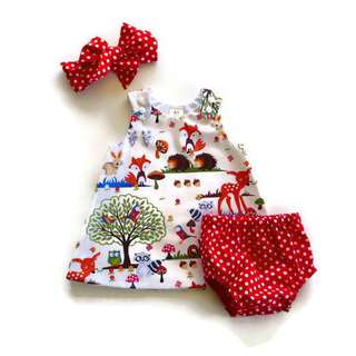3pcs Baby Girl Dress (dress, mini pants & Headband)