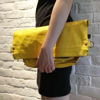 Yellow genuine leather bag