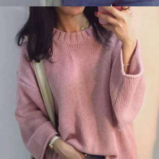 Pink knitted pullover