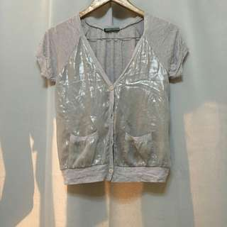 Grey Silk Shortsleeve Blazer