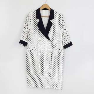 [RESERVED] Korean Style Polka Dot Long Blazer Jacket Coat with Black Trimming