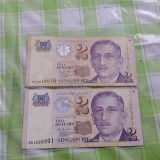 2x $2 notes serial no. 0CQ610016 and 0DJ299991