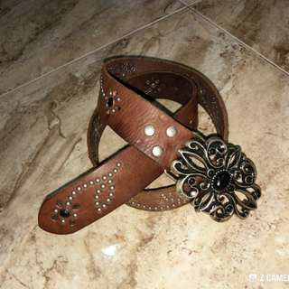 Belt Leather Gemstone Studded Leather
