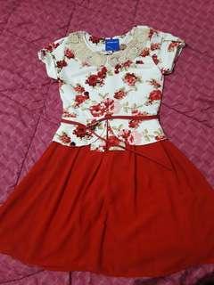 Red Flower Dress ( baca deskripsi!! )