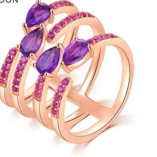 Natural Amethyst & Garnet Rose Gold Stack Ring (PRE-ORDER)