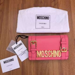 Moschino Authentic Pink leather wallet original large clutch branded dompet asli
